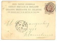 Qv 1D Brown Upu Post Card London 1884 Varnish Japan & Color Manufacturers Medals