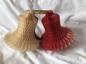 Vtg Retro Christmas Honeycomb Tissue Paper Red White  Bells Hanging Props