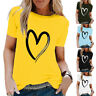 Womens T Shirt Tee Basic Ladies Pullover Holiday Short Sleeve Blouse Tops Summer