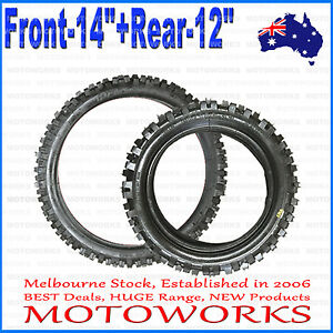 "60/100 - 14"" Front 80/100 - 12"" inch Rear Back Tyre Tire PIT PRO Trail Dirt bike"