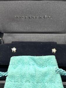 Tiffany & Co Platinum Solitaire Diamond .34 Stud Earrings
