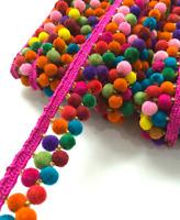 3 metre Latest Multicoloured Rainbow Pom Pom bobble Fringe Trim Craft Ribbon