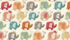 Fat Quarter Ellie Turquoise Elephants Cotton Quilting Sewing Fabric
