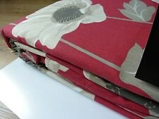 "clearance! 100% Cotton Pencil Pleat Poppy Red Curtains 168x229cm, 66x90"" Unlined"