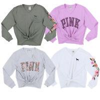 Victoria's Secret Pink T-Shirt Tie Front Top Long Sleeve Tee Graphic Logo New Vs