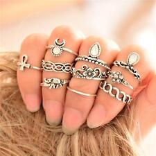 10Pcs/ Set Antique Silver Gold Plated Boho Arrow Moon Midi Finger Knuckle Rings