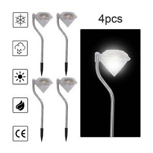 4 x Solar Powered Stainless Steel LED Diamond Stake Lights Garden Patio Outdoor