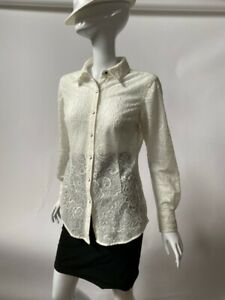 Ariat Womens Button Front Shirt Ivory Paisley Long Sleeve Snaps Embroidered S