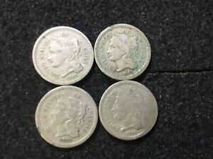 *4* 1866 1867 1870 1873 ~ 3-CENT NICKEL ~ Mid Grade Key Coin Lot ~ No Res ~544