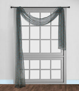 "1PC GEOMETRIC VALANCE SCARF SWAG VOILE SHEER ELEGANT WINDOW DRESSING S38 216"" L"