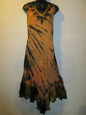 Dress Fits XL 1X 2X 3X Plus Sundress Long Tunic Black Orange Lace Hem NWT 663