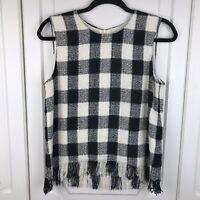 Zara Black & White Woven Check Fringe Tank Top Size M / UK 12 VGC