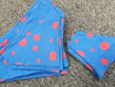 Slide on dog bandana size XS in royal blue with red spots  polycotton