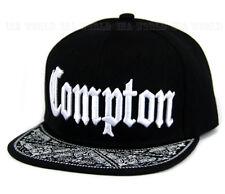 COMPTON hat 3D embroidered Snapback Baseball cap Paisley Flat Hiphop Bill- Black