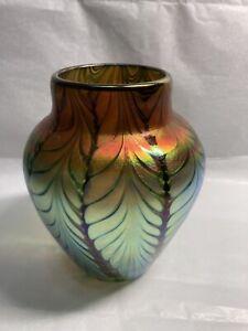 Lundberg Studios Iridescent Signed Art Glass Vase - Very Beautiful