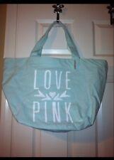 Victoria's Secret LOVE PINK Canvas Tote Bag Blue NWT