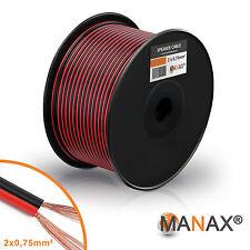 100m Zwillingslitze 2x 0,75mm² Lautsprecherkabel Boxenkabel rot/schwarz 2-adrig