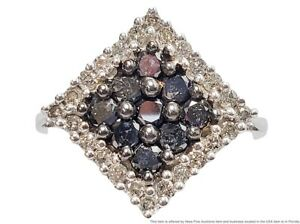 14k Solid White Gold Irradiated Fancy Black And White Diamond 1ctw Square Ring