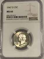 1947-D 25 Cents Washington Quarter-Dollar MS-66 NGC