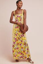 96935803484 NWT Anthropologie Farm Rio Yellow Floral Cantonal Long Summer Maxi Dress M