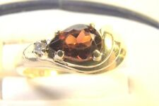 Beautiful Sideways Pear Cut Orange Citrine & Diamond 10 K Gold Sz 5 Dinner Ring