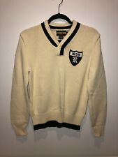 Ralph Lauren RUGBY 1839 Crested V-Neck Knitted Cream Athletic Pullover Sweater M