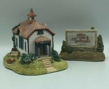 """Lilliput Lane """"Small Town Library"""" & Sign American Landmarks Collection LOT."""