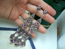 "VINTAGE 4"" LONG STERLING SILVER AMETHYST DROP DANGLE SHOULDER DUSTER EARRINGS"
