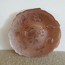 Serving Plate / Platter With Iridescent Brown Seashells / Nautical Pattern