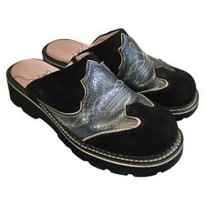 Ariat Western Clogs Mules Women's Size 8.5 B Black Suede Blue Tooled Leather
