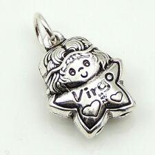 S925 Stamped Sterling Silver 12x15mm Virgo Horoscope Zodiac Baby Star Pendant