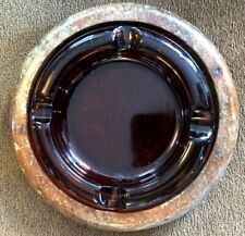 Ashtray Amber Glass 6� in Wood Holder 8� Tobacciana Collectible Vintage! B8