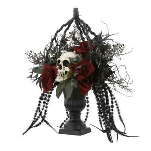 Roses and  Skull Artificial Topiary Urn Table Arrangement  New