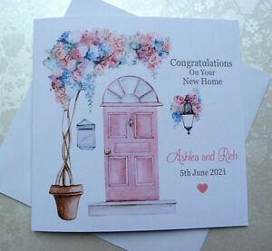"""Personalised Handmade New Home Congratulations Card  6"""" Square"""