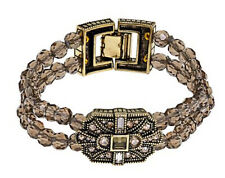 Heidi Daus Beaded Double-Row Smokey Quartz Crystal Bracelet~Deco Trilogy S/M