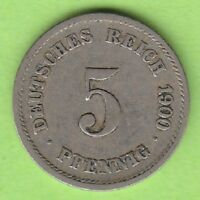 Kaiserreich 5 Pfennig 1900 G sehr schön nswleipzig