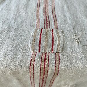 Antique French Grainsack Linen Faded Peach Stripes Distressed Worn Grain Sack
