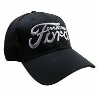 Ford Script Logo with Mustang Black Baseball Cap Hat