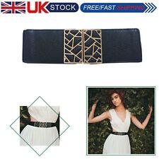 Women Wide Corset Belt Waistband Elastic Waist Closure Dress Gold Buckle Stretch