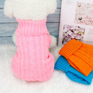 Small Dog Jumper Soft Winter Dog Cat Coat Knitted Sweater Woolly Dog Jacket Pink