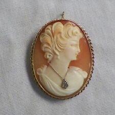 Vintage Antique 10K Gold Cameo Brooch Necklace Pendent Not Scrap