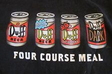 """The Simpsons Duff Beer """"Four Course Meal""""  mens T shirt SS Black"""