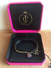 Juicy Couture Bling Pave Pink Heart Charm Wish Bracelet Goldtone Puffed Link NIB