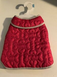 Martha Stewart Pets  Dog coat  red quilted bones NWOT small
