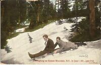 Grouse Mountain, British Columbia - CANADA - Sleighing - 1909 - men, suits, sled
