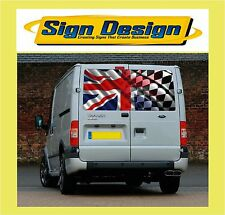 STUNNING WAVING  UNION JACK WITH CHEQUERED FLAG  FIT TRANSIT VIVARO TRAFFIC P015
