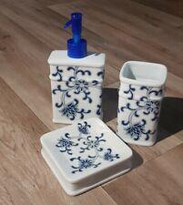 Badgarnitur 3-teilig Seifenspender Seifenschale Zahnputzbecher Becher weiß blau