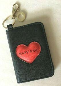 Mary Kay Black Zippered Key & Card Case W/Red Heart