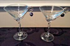 New ListingWire Wrapped Martini Glasses w/ Bead or Cobachon Accent Unique! Vguc