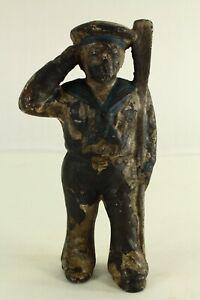 = Antique 1908-1930 Hubley Cast Iron Still Bank Saluting Sailor Original Finish